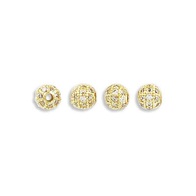 Metal beads, 4mm, inside diameter 1.30mm, brass core, pave with zircon, gold color