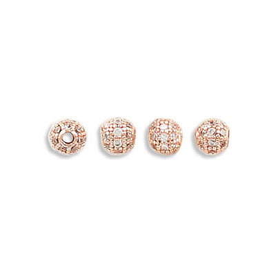 Metal beads, 4mm, inside diameter 1.30mm, brass core, pave with zircon, rose gold plate