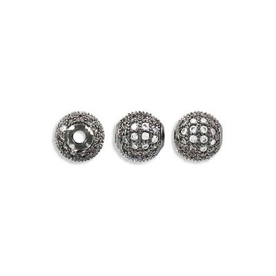 Metal beads, 6mm, cubic zirconia pave, black nickel finish, approx. hole size 1.80mm