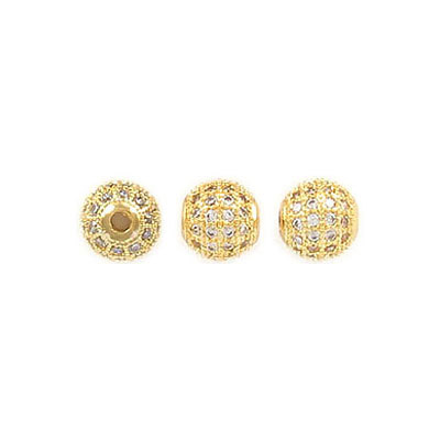 Metal beads, 6mm, cubic zirconia pave, gold plate, approx. hole size 1.80mm