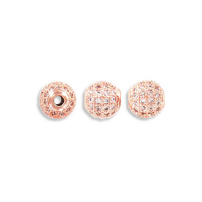 Metal beads, 6mm, cubic zirconia pave, rose gold plate, approx. hole size 1.80mm