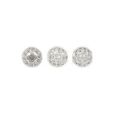 Metal beads, 6mm, cubic zirconia pave, rhodium imitation, grandeur de trou approx. 1.80mm