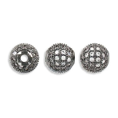 Metal beads, 8mm, cubic zirconia pave, black nickel finish, approx. hole size 2mm