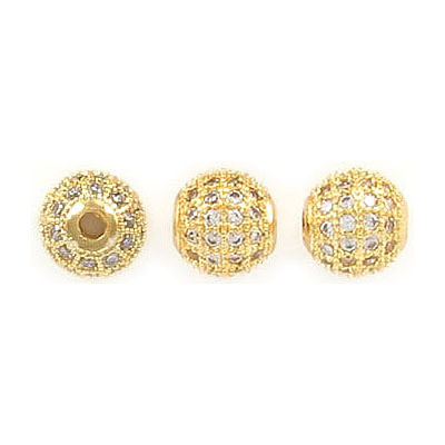 Metal beads, 8mm, brass core, approx. hole size 2.25mm, gold color, pave with zircon