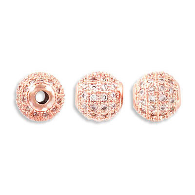 Metal beads, 8mm, cubic zirconia pave, rose gold plate, approx. hole size 2mm