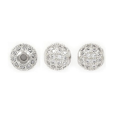 Metal beads, 8mm, brass core, approx. hole size 2.25mm, rhodium imitation, pave with zircon