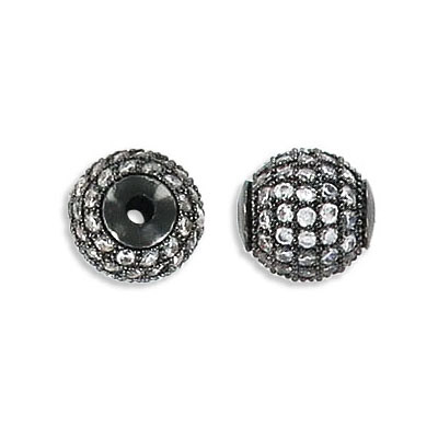 Metal beads, 10mm, brass core, pave with zircon, black nickel
