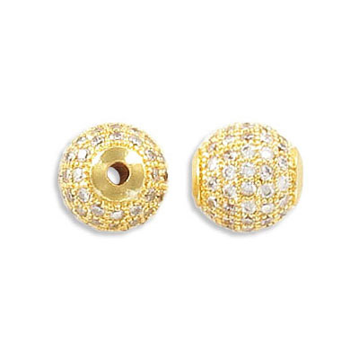 Metal beads, 10mm, brass core, pave with zircon, gold plate