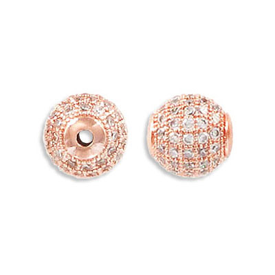 Metal beads, 10mm, brass core, pave with zircon, rose gold plate