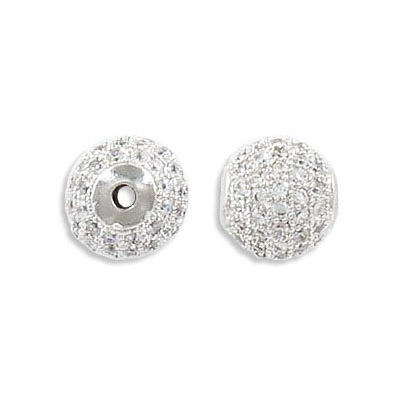 Metal beads, 10mm, brass core, pave with zircon, imitation rhodium