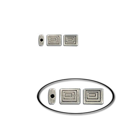 Metal bead, 8x6mm, flat rectangle, inside diameter 1.3mm, antique silver, zinc alloy (zamak)