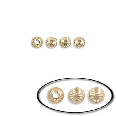 Metal beads, 3mm, corrugated, inside diameter 1mm, brass base, gold filled