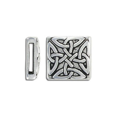 Metal bead, flat square slider, 18mm, inside diameter 13x2mm, antique silver
