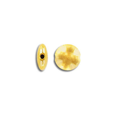 Metal beads, 7.6mm, flat round, inside diameter 1.1mm, zamak (zinc alloy), gold color