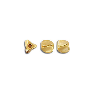 Metal beads, 5mm, 3-sided, inside diameter 1.2mm, gold plate, zinc alloy (zamak)