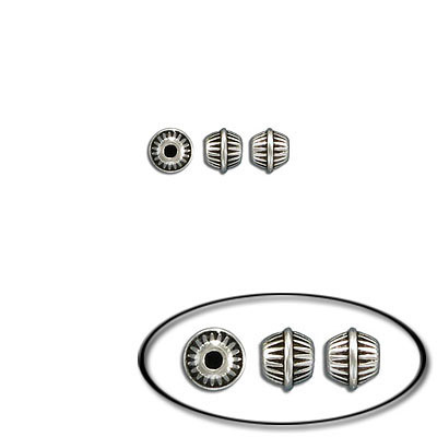 Metal bead, 6.9x5.6mm, inside diameter 1.5mm, antique silver, zinc alloy (zamak)