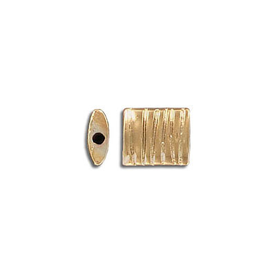 Metal beads, 10x9x4mm, flat square, inside diameter 1.3mm, gold plate