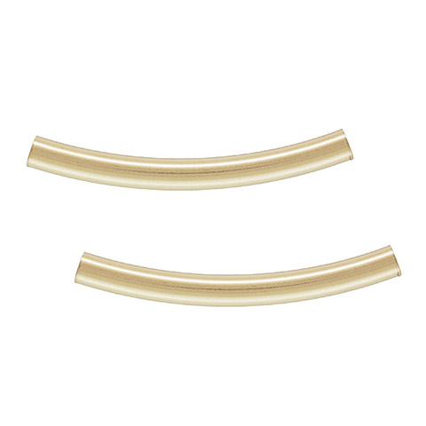 Metal beads, 2x20mm curved tube, approx. hole size 1.5mm, gold filled, gold plate