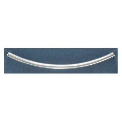 Metal bead, curved tube, 3x60mm, silver