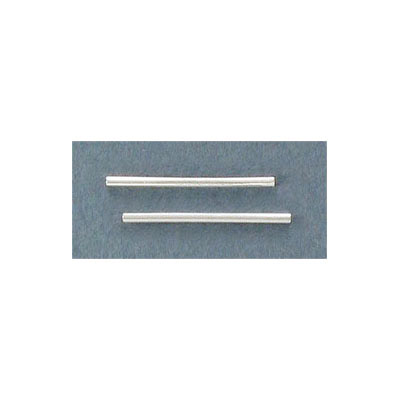 Metal beads, 1.2x20mm, tube, silver plate