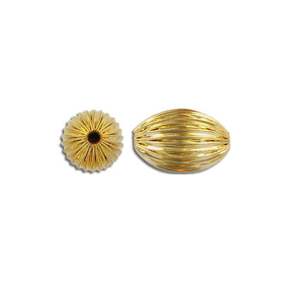 Metal beads,  yellow oval