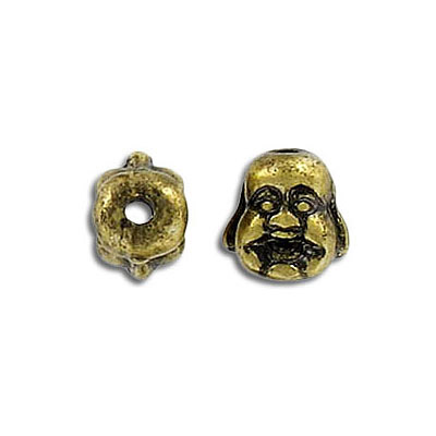 Metal beads, happy Buddha, antique brass, lead/cad safe