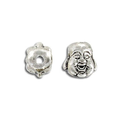 Metal beads, happy Buddha, antique silver, lead/cad safe