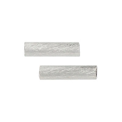 Metal beads, brushed tube, 15x3mm, (id 2.5mm), silver plate