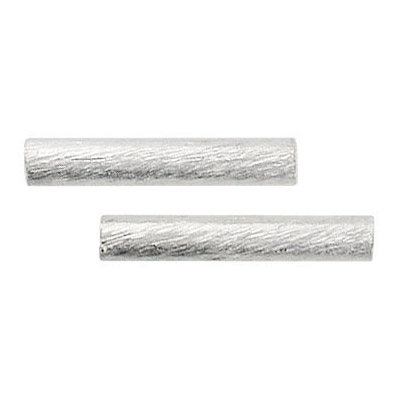 Metal beads, brushed tube, 22x2.6mm, (id 2.5mm), silver plate