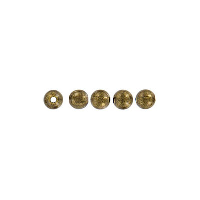 Metal beads, 3mm, round, antique brass