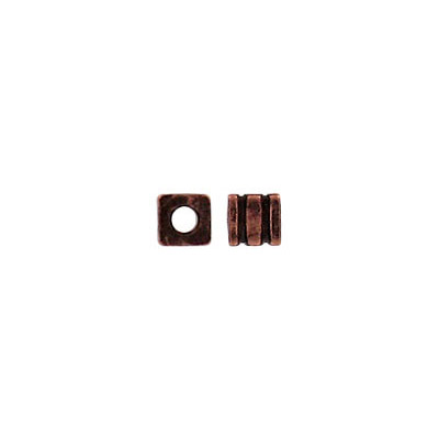 Metal beads, ribbed cube antique copper