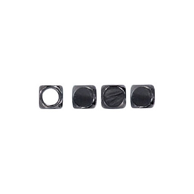 Metal beads,  cube, 4mm, black nickel plated