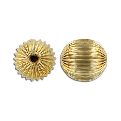 Metal beads, 20mm, corragated round, gold plate