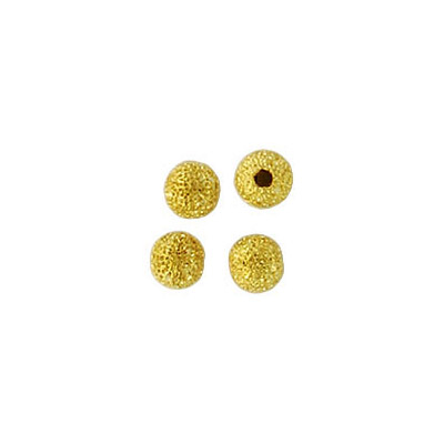 Metal beads, 4mm, round, frosted, gold plated