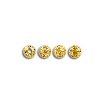 Metal beads, 4mm, round, filigree, fancy gold plated