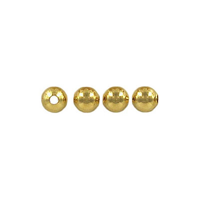 Metal beads, 4mm, round, hole size 1.2mm, gold plate
