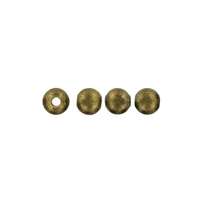 Metal beads, 4mm, round, hole size 1.2mm, antique brass