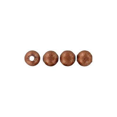 Metal beads, 4mm, round, hole size 1.2mm, antique copper