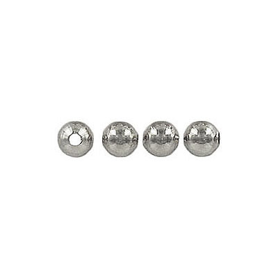 Metal beads, 4mm, brass core, approx. hole size 1.20mm, rhodium imitation