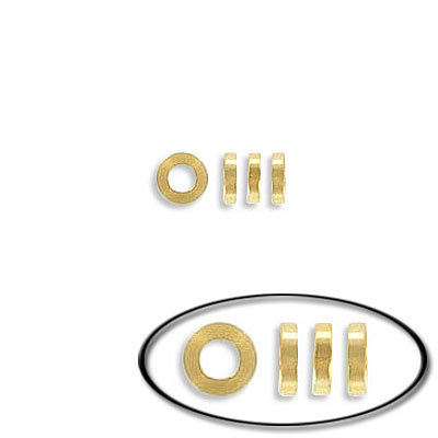Metal bead, rondelle, 4mm, inside diameter 2mm, 1mm thick, stainless steel, gold vacuum plate
