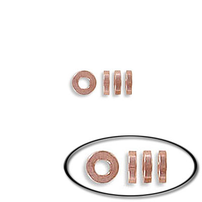 Metal beads, rondelle, 4mm, 1mm thick, inside diameter 2mm, stainless steel, rose gold vacuum plating