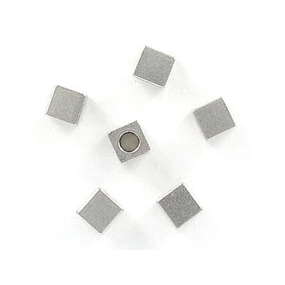 Metal beads, 4x4mm, square, inside diameter 2.20mm, stainless steel, grade 304l