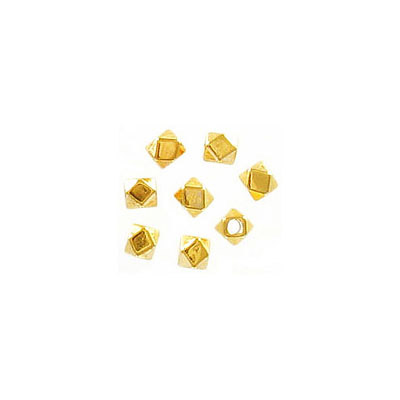 Metal bead, 3x3.4mm, irregular shape, inside diameter 1.5mm, zinc alloy (zamak), gold plate