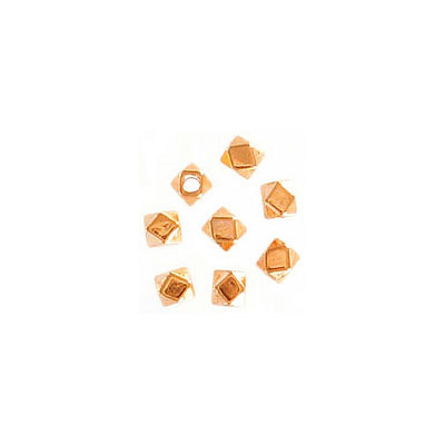 Metal bead, 3x3.4mm, irregular shape, inside diameter 1.5mm, zinc alloy (zamak), rose gold plate