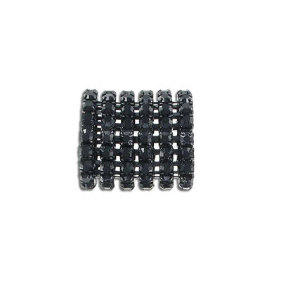 Metal beads, 20x20mm, tube, 14mm hole, jet, black finish