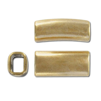 Metal bead, 28x13mm, tube, zinc alloy, inside diameter 10x7mm, antique gold, nickel free. Made in Europe