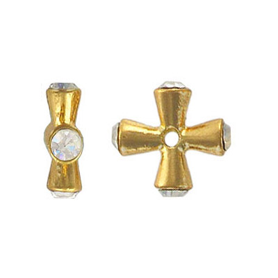 Metal beads,  cross with rhinestone, gold plated