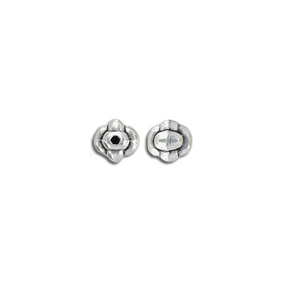Metal bead, 7mm, irregular shape, inside diameter 1.3mm, zinc alloy (zamak), antique silver