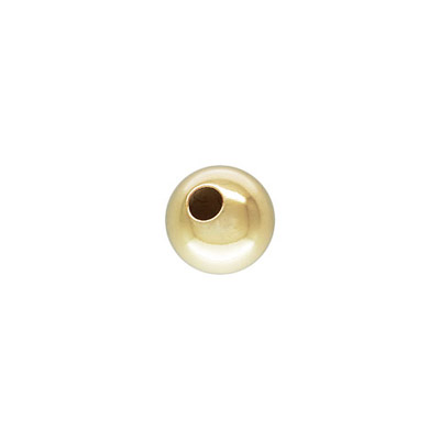 Metal beads, 5mm, seamless round, 1.45mm inside diameter, gold filled, gold plate