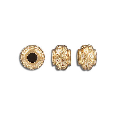 Metal beads, 9mm, inside diameter 3mm, gold plate